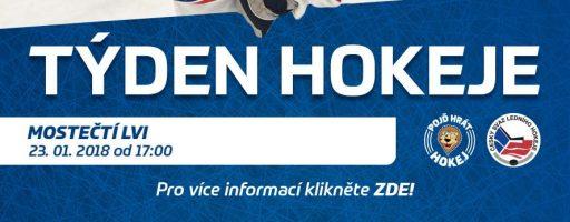 POZVÁNKA: 23. 1. 2018 Týden hokeje